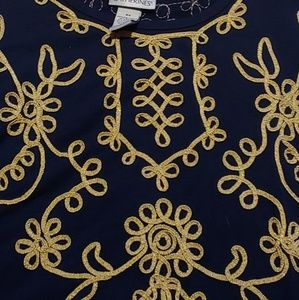 Maggie Barnes Navy Blouse with Gold Trim